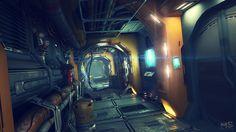 spaceship corridor 3D scene, Mateusz Szulik on ArtStation at http://www.artstation.com/artwork/spaceship-corridor-3d-scene