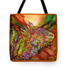 Iguana Hot Tote Bag by Carol Cavalaris