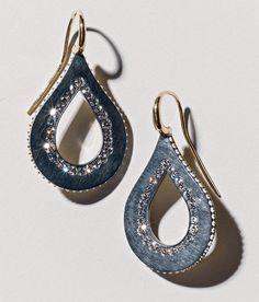 James de Givenchy for Taffin diamond, silver and rose-gold ear pendants