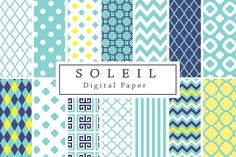 Blue and Yellow Soleil Backgrounds by Lilly Bimble on @creativemarket