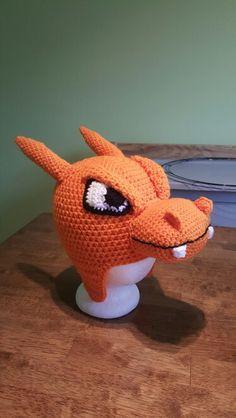 Crochet Charizard hat Place orders at  jennifersstitchedup@yahoo.com