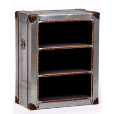 Aviator BookCase Retro Antique Style industrial steel metal Bookcase storage trunk in proven antique design Smithers of stamford 01780 435060 Chest Furniture, Furniture Care, Steel Furniture, Vintage Furniture, Metal Bookcase, Bookcase Storage, Vintage Shelf, Storage Trunk, Mdf Frame