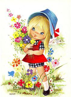 Vintage postcard of a Big Eyed girl   By Nuco   PrettyPostcards   Flickr