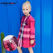 2017 Girl Plaid Dress Kids Cotton Brand Costume Rose and White Color //FREE Shipping Worldwide //