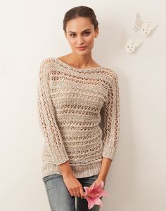 One piece linen pullover - Katia's spring collection. Pull Crochet, Knit Crochet, Pull Beige, Knitting Patterns, Crochet Patterns, Beige Sweater, Knit Jacket, Diy Clothing, Crochet Designs