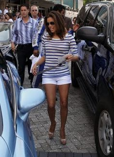 Eva Longoria -- Blue White Stripe Tee and White Shorts and Nude Pumps