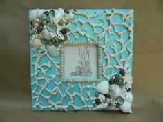 Tranquil Waters Aqua Frame with Shells and Coral by Tersjustbeachy