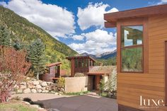 A stunning #Aspen retreat's #entry #courtyard. | See MORE at www.luxesource.com. | #luxemag #interiordesign #design #interiors #homedecor #architecture