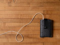 iPhone/iPod Case in Charcoal Wool Felt and Black Leather by byrdandbelle, $34.00