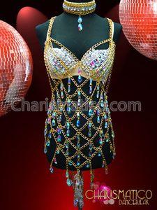Gogo wonder sexy Showgirl Teardrop cyrstal necklace & bra