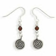 Coil Design Earrings With Garnet