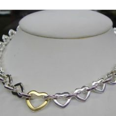 "Tiffany & Co Heart Link Necklace Authentic Tiffany & Co. 18k & sterling Silver Heart link necklace. Size: 16"" Tiffany & Co. Jewelry Necklaces"
