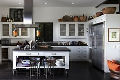 Well-appointed black, white and stainless kitchen in this home located in Malibu, California. [941 × 627] - Interior Design Ideas, Interior Decor and Designs, Home Design Inspiration, Room Design Ideas, Interior Decorating, Furniture And Accessories