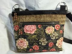 Crossbody VI Handbag in Floral in black, brown with an adjustable strap by ChickadeeHillDesigns on Etsy