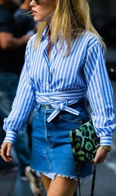 what to wear with an animal printed bag : stripped shirt + denim skirt