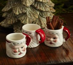 Mini Santa Mugs - I love that these only hold 2 ounces. I tend to gravitate toward things that are smaller than they are supposed to be. Unlike my son, who although cute, is much larger than he is supposed to be. Modern Christmas, Christmas Mugs, Country Christmas, All Things Christmas, Christmas Time, Vintage Christmas, Christmas Holidays, Merry Christmas, Christmas Ideas