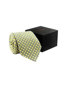 Grey & Lemon Green Silk Tie - Tie - Shop By Product - Fashion Accessories