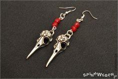 Neu Gothic Vogel Schädel Ohrringe  Anhänger Metall von SpinnWeben