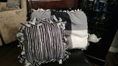 No sew Black, white & grey pillow made from old linen tablecloth and old pillow