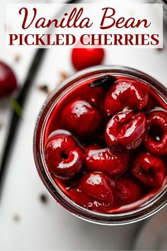 Vanilla Bean Pickled Cherries are tangy, sweet and tingly with a round vanilla finish. Use bing cherries for this easy pickled fruit recipe. Pickled Fruit, Pickled Cherries, Cherry Recipes, Fruit Recipes, Nutella Recipes, Recipies, Bing Cherries, Sweet Cherries, Fermentation Recipes