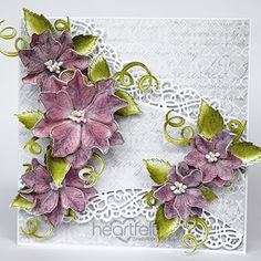 Glistening Petunia Borders card from #heartfeltcreations