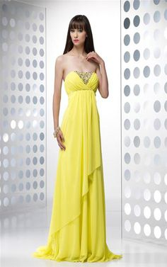 Yellow Chiffon Strapless Prom Dress Long 2013 [Prom Dress Long 2013] - $164.00 : Cheap Formal Dresses, Discounted Prom Dresses at DressesBarnCheap