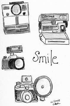 Smile with cameras Illustration via www.Facebook.com/BlueChairDiaryIllustrations by www.BlueChairDiaryPortfolio.Blogspot.com and