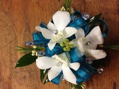 Teal Wrist Corsage