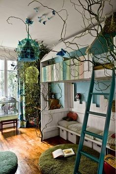 I incorporated branches into my son's first room. It was jungle room, and I put stuffed exotic (fake) birds on the branches, and hanging monkeys. I also painted a jungle theme on his little furniture that my father-in-law built, and I painted a blue sky Fairy Bedroom, Dream Bedroom, Girls Bedroom, Boys Jungle Bedroom, Magical Bedroom, Trendy Bedroom, Modern Bedroom, Bedroom Themes, Bedroom Decor