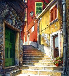 """Joel R. Johnson /  Stairway Cinque Terre / Size: 27x45"""" / Watercolor Painting"""
