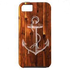 Vintage Anchor on Dark Wood Boards iPhone 5 Case