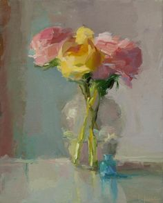 Christine Lafuente, Pink and Yellow Peonies, oil on linen, 20 x 16 inches Acrylic Painting Flowers, Abstract Flowers, Pinturas Color Pastel, Yellow Peonies, Impressionist Paintings, Painting Inspiration, Artist, Canvas Art, Watercolor Painting