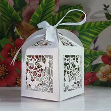 120pcs Laser Cut Butterfly and Flower wedding party favor box in pearlescent white paper candy box,party show gifts(with ribbon)(China (Main...