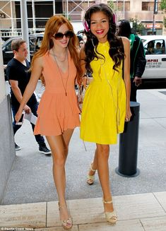 Close friends: Shake It Up stars Bella Thorne (L) and Zendaya showed their strong bond as they walked arm in arm around New York