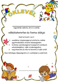 2.osztály végére Classroom Rules, Classroom Decor, Granola, Teacher Sites, School Frame, Play To Learn, Child Development, Teaching English, Holidays And Events