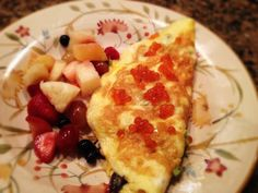 Salmon and Salmon Roe, Avocado, and Olive Omelet With Fruit: 11/27/13