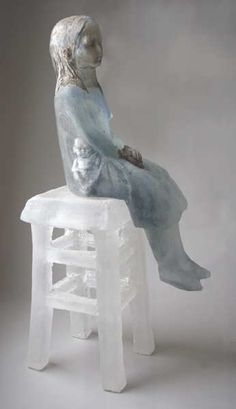 Christina Bothwell, Chair  cast glass, raku clay  27 x 10 x 10 inches