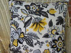 Pillows Black Yellow White Flowers Fabric 18x18.