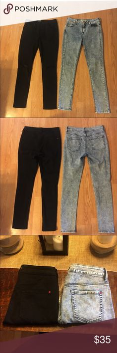 Bullhead Denim High Rise Skinniest Jeans 9 Bundle Bullhead Denim Co two pairs of jeans both high rise skinniest size 9. Both worn one time to school. Black pair is a true black wash with no fading and rips in the knees. Other pair is acid wash. Both bought from PacSun. Willing to take additional pictures! Jeans Skinny