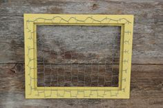 Yellow Chicken Wire Frame  13 1/4 x 11 by bungalov on Etsy, $16.00