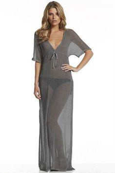"""Bold Series"" V Neck Long Cover-Ups Bikini Beach Sheer mesh Dress"
