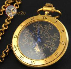 Copper Vintage Steampunk Mechanical Pocket Watch Hand Winding Clock Roman Num