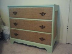Old dresser turned new. Paint and burlap