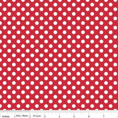 Small Dots White on Red Yardage by Riley Blake Designs