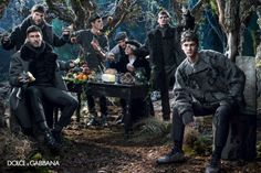 Dolce & Gabbana released its Fall/Winter 2014 campaign inspired by the Norman kings of Sicily. The campaign features models Evandro Soldati, Mariano Ontañon, Miks, Misa Patinszki, Noah Mills and Ryan Barrett photographed by Domenico Dolce. Fashion Advertising, Advertising Campaign, Dolce & Gabbana, Kate Bogucharskaia, Bianca Balti, Group Photography, Modeling Photography, Fashion Photography, Stefano Gabbana