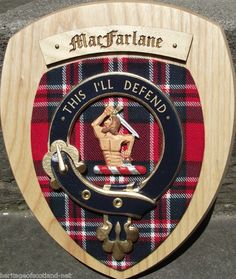 Scottish Gifts MacFarlane Family Clan Crest Wall Plaque