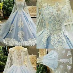 Aliexpress 2017 Fotos Reais Azul vestido de Baile Vestido de Casamento Long Train Lace Apliques Flores Frisada Colher vestidos de Casamento de Luxo Vestidos de Noiva A