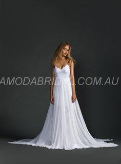 amodabridal.com.au SUPPLIES Unique  A-Line Spaghetti Strap Floor-Length Backless Lace Beach Wedding Dress  Lace Wedding Dresses