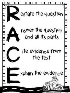 Freebie: RACE Strategy foldable for writing or answering