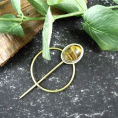 Shawl Pin, Brass & Silver with Tiger's Eye Cabachon for Scarf, Shawl or Wrap £15.00 Shawl Pin, Metal Shop, Open Weave, Organza Gift Bags, Beautiful Gifts, Knitted Shawls, Gifts For Friends, Brass, Eye